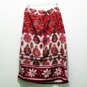 Boho Drawstring Skirt India Cotton Red and Pink
